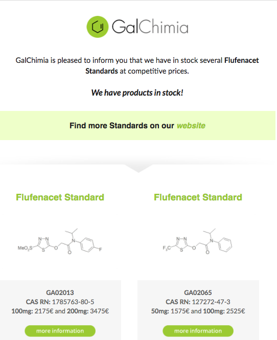 GalChimia is pleased to inform you that we have in stock several Flufenacet Standards at competitive prices. We are pleased to offer you Good Chemistry.