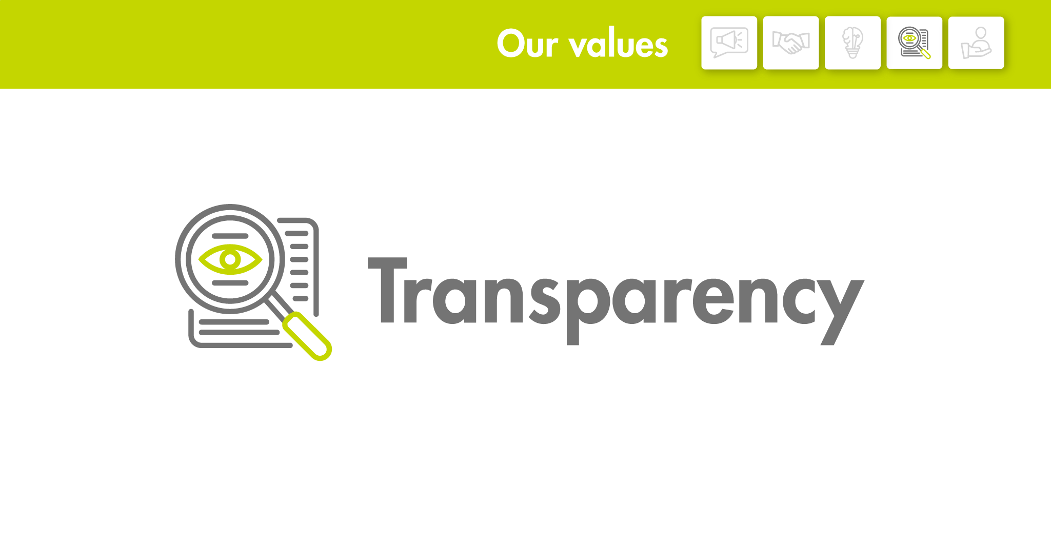 Our values: Transparency