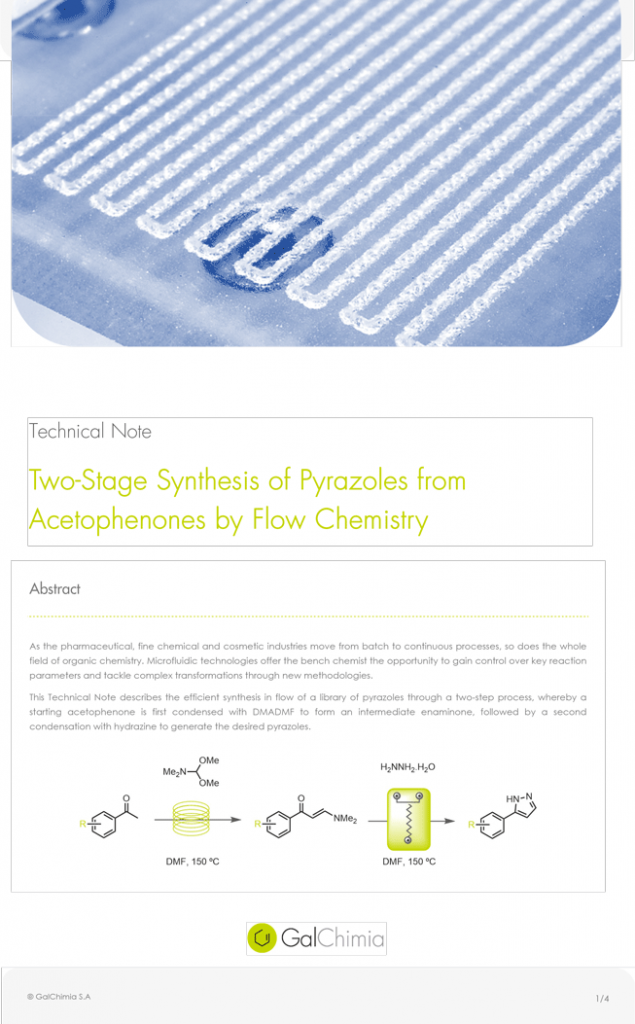 Technical Notes Two-State Synthesis of Pyrazoles from Acetophenones by Flow Chemistry